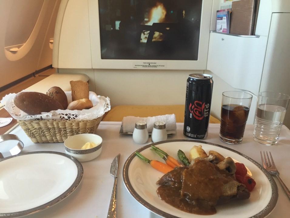 Thai Airways A380 Royal First Class - Confit duck