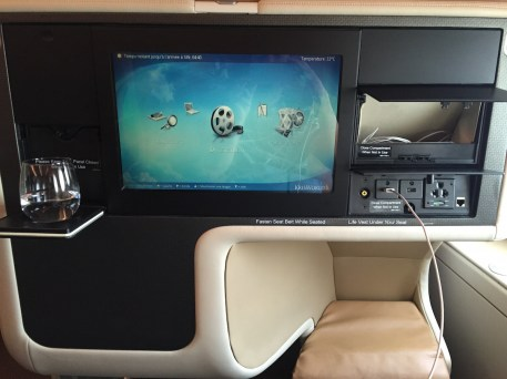 Singapore Airlines A380 Business Class - Entertainment system on 15-inch screen