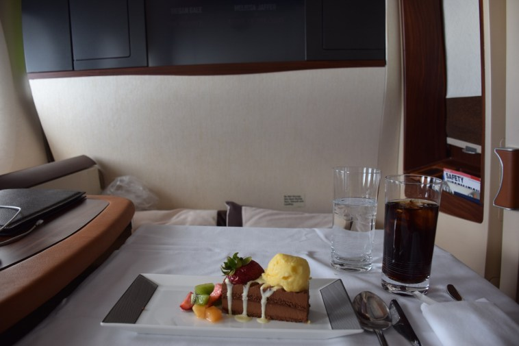 Singapore Airlines A380 Suites - Dessert chocolate cake and ice cream