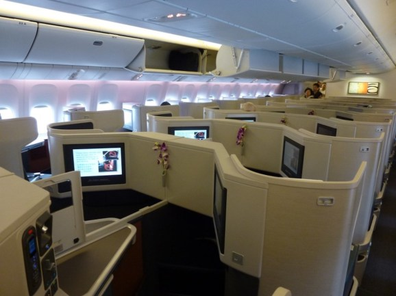 Cathay Pacific Business Class cabin (picture from previous short haul flight)