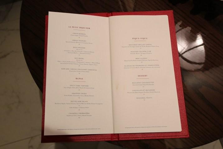 Spa de La Mer - Snack menu