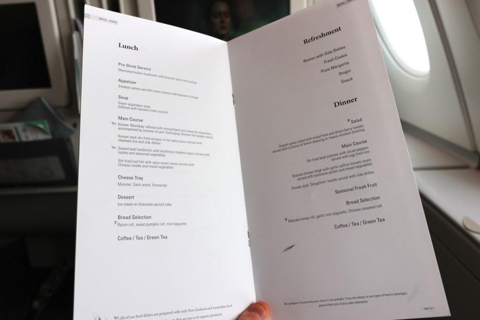 Prestige Class cabin - Catering menu