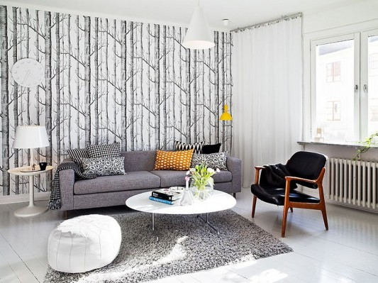 house beautiful living room ideas indigo blue chairs swedish family modern interior design home space with beauty wallpaper