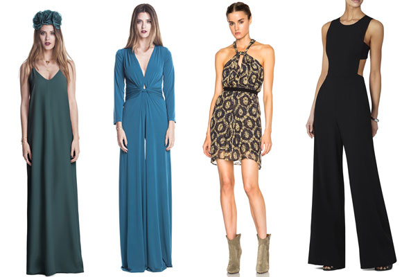 brunna collection teel green maxi dress, brunna collection jumpsuit, isabel Marant tevy printed look dress y BCBG cut out Jumpsuit in black