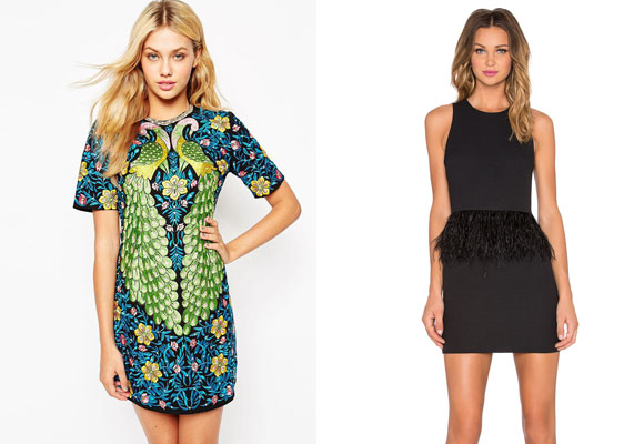 Asos peacock dress y Endless rose feather dress in black