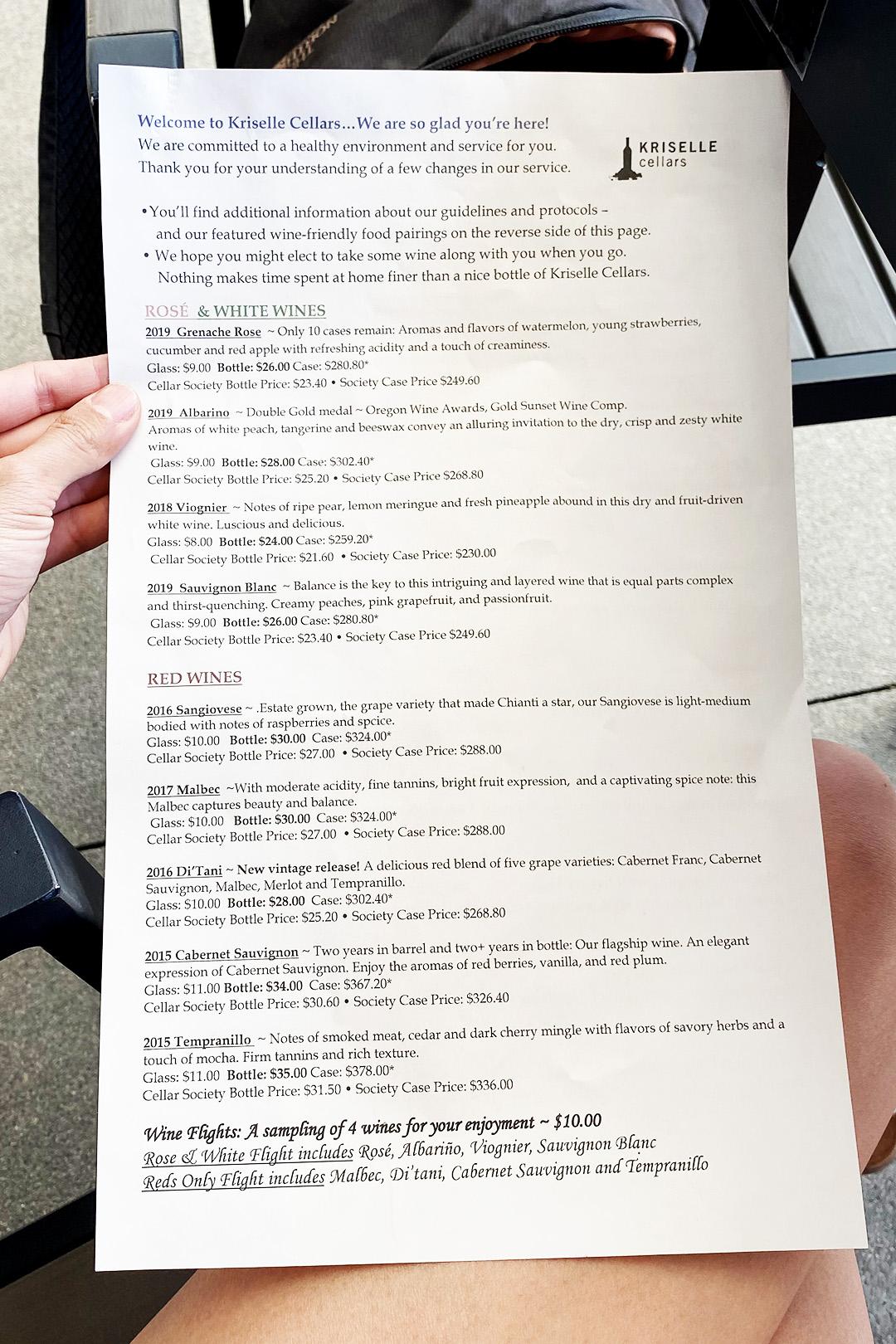 Kriselle Cellars Free Wine Tasting with Alaska Airlines Menu