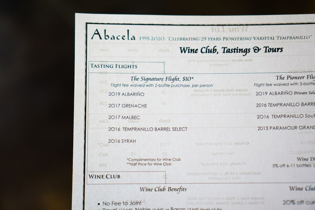 Abacela Free Wine Tasting with Alaska Airlines Menu (Signature Flight)