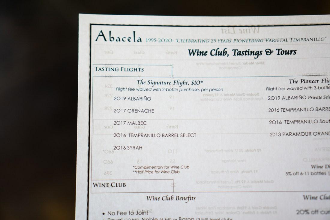 Abacela Free Wine Tasting with Alaska Airlines Menu (Signature Flight)
