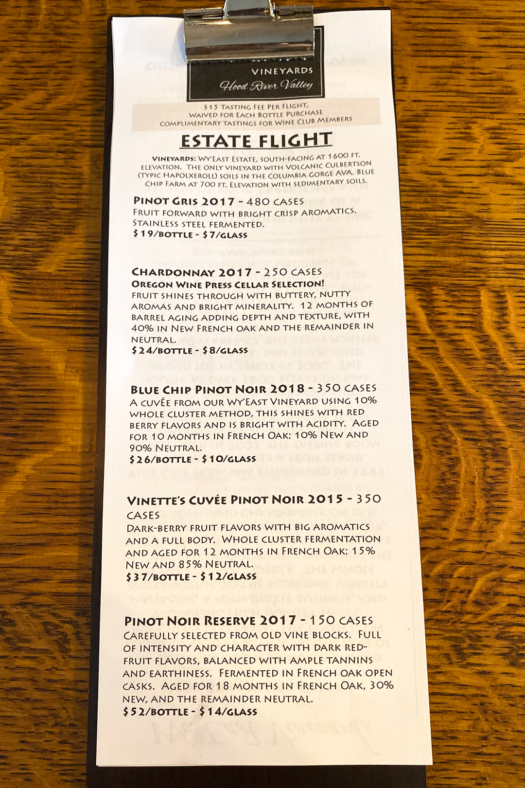 Wy'East Vineyards Estate Flight Tasting Menu