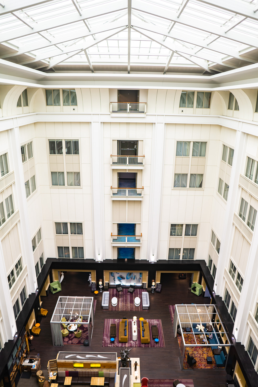 The Nines Hotel Top Floor Lookout into the Atrium
