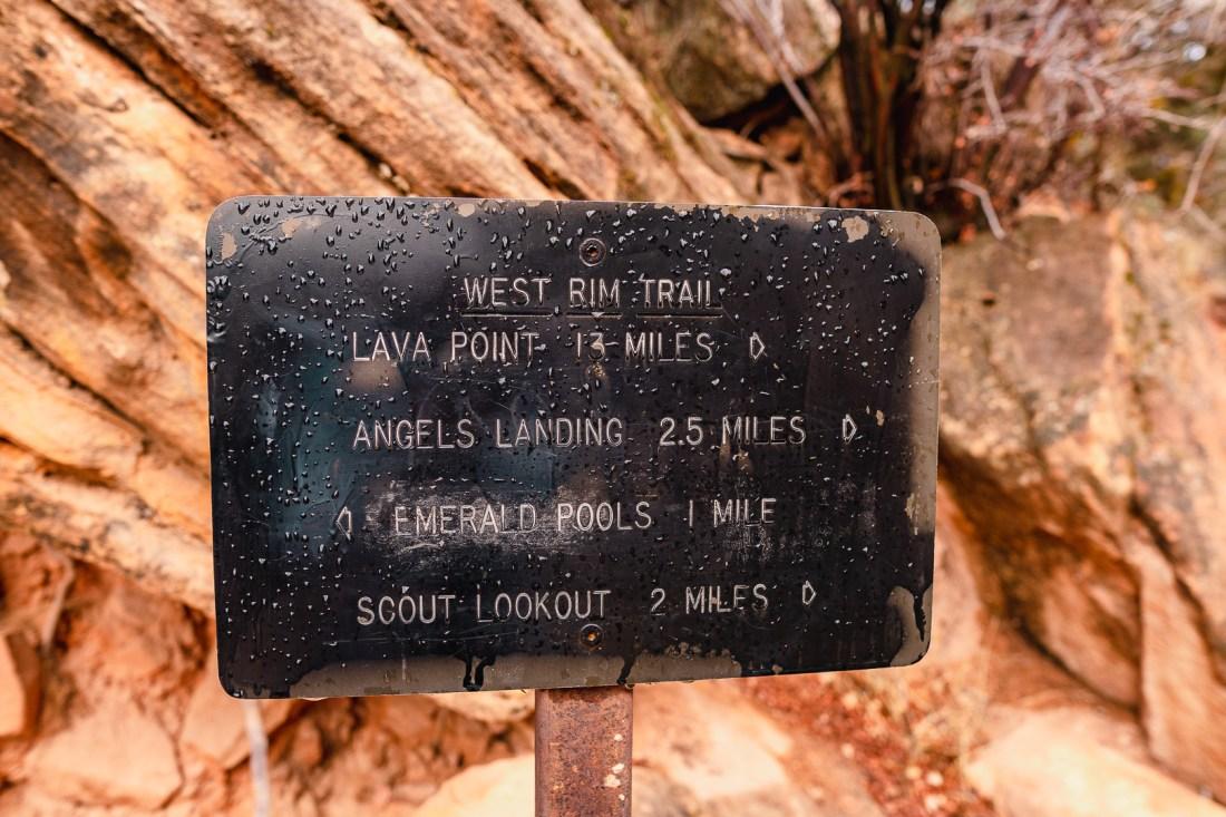 Angels Landing Signage