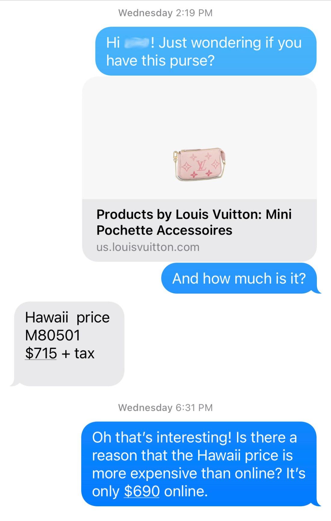 Text chat with Louis Vuitton Sales Associate about Mini Pochette