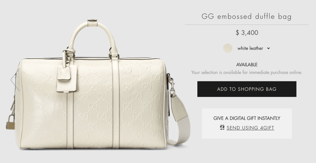 Gucci GG Embossed Duffle Bag Online Price