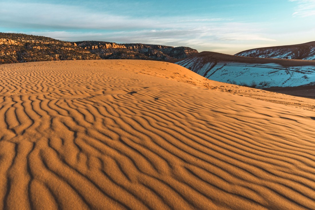 Beautiful ribbons of sand at Coral Pink Sand Dunes State Park