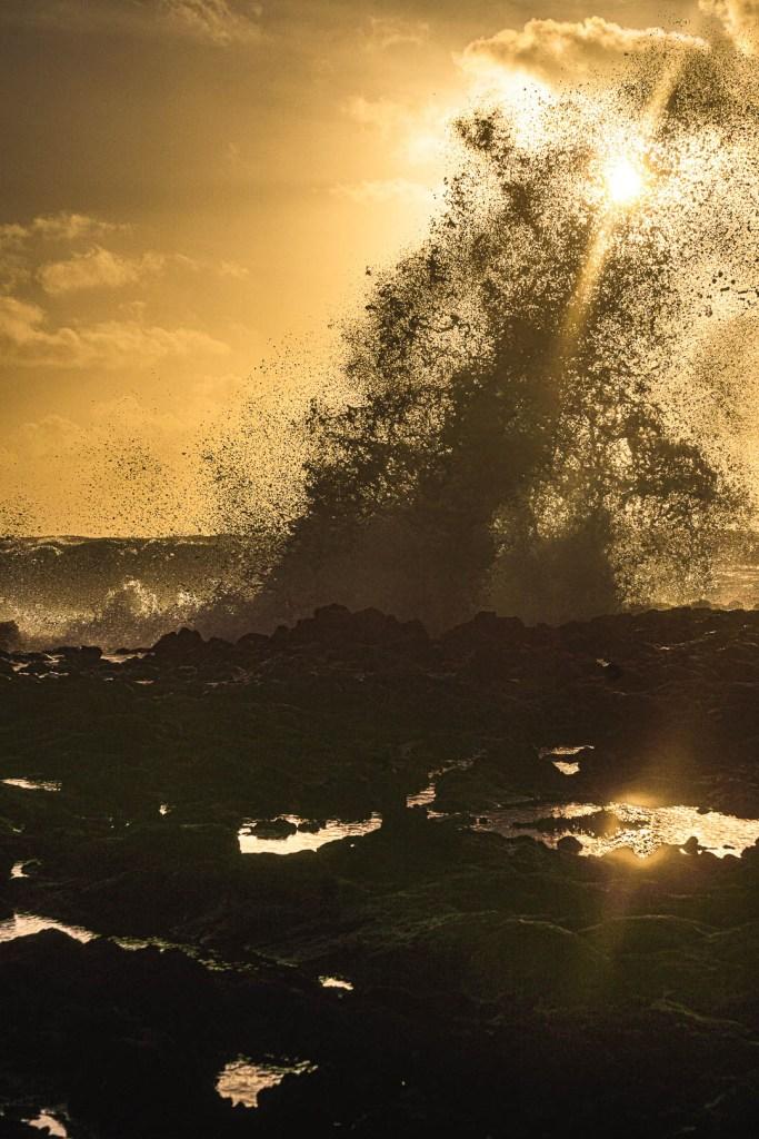Crashing Waves at Sandy Beach
