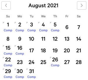Bellagio myVEGAS Rewards Calendar (August 2021)