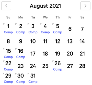 myVEGAS Bellagio August 2021 Comp Calendar