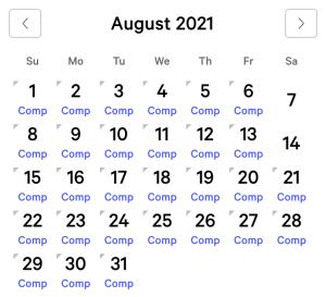 Park MGM myVEGAS Rewards Calendar (August 2021)