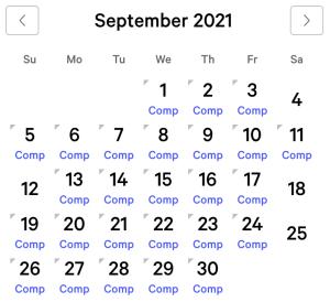 Park MGM myVEGAS Rewards Calendar (September 2021)