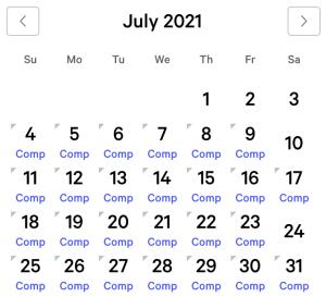 MGM Grand myVEGAS Rewards Calendar (July 2021)