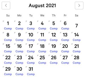 MGM Grand myVEGAS Rewards Calendar (August 2021)