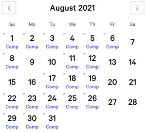 Aria myVEGAS Rewards Calendar (August 2021)