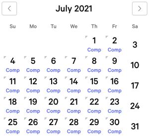 Excalibur myVEGAS Rewards Calendar (July 2021)