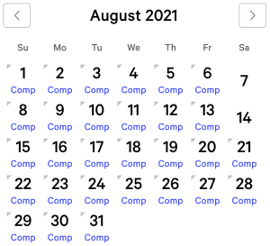 Excalibur myVEGAS Rewards Calendar (August 2021)