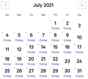 Mandalay Bay myVEGAS Rewards Calendar (July 2021)