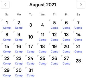 Mandalay Bay myVEGAS Rewards Calendar (August 2021)