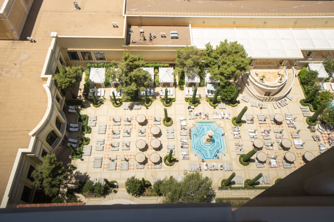 View of a Pool Down Below