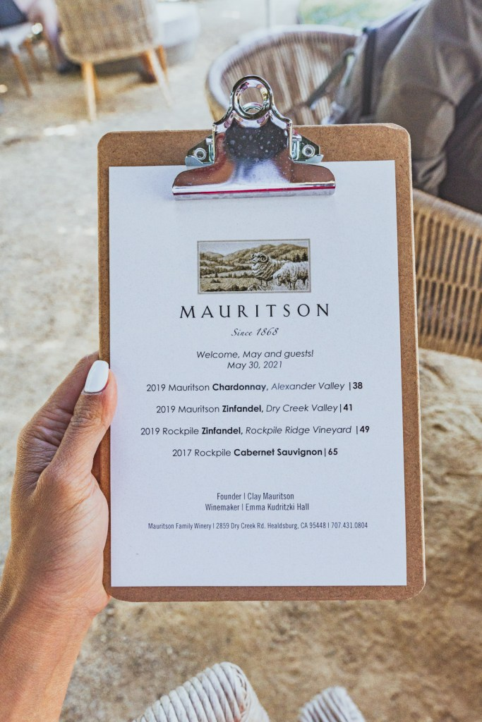 Mauritson Wines' Tasting Menu
