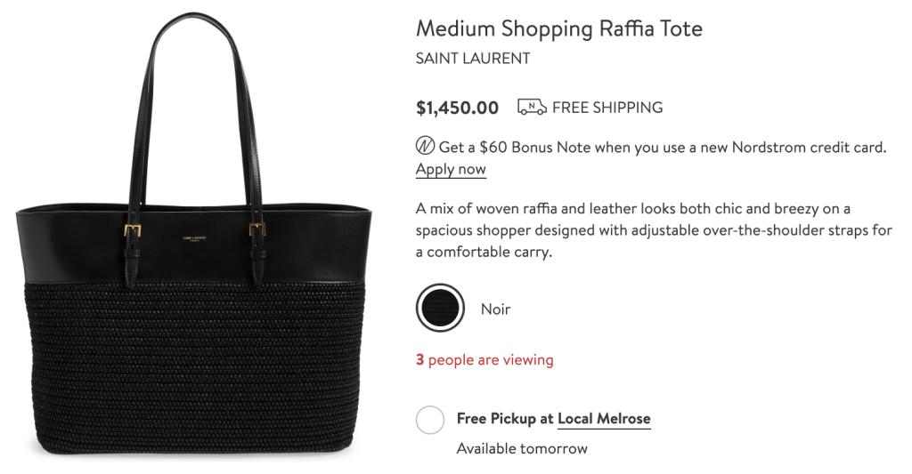 Saint Laurent Medium Raffia Shopping Tote Retail Price