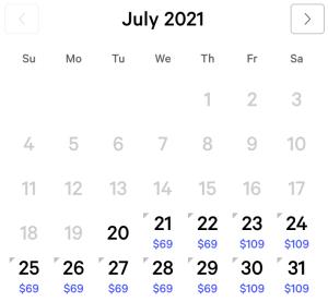 Mirage Exclusive Rates July 2021