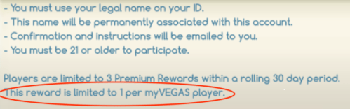 Limit one per player