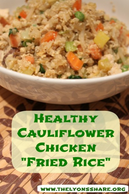 close up healthy cauliflower chicken fried rice thelyonsshare