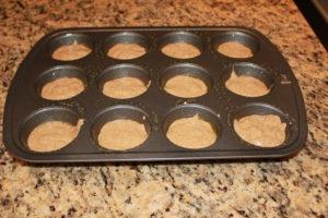 muffin tin filled