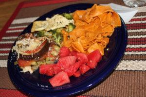 pasta veggies watermelon tofu