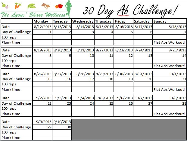 photo regarding 30 Day Squat Challenge Printable known as 30-Working day Ab Issue with the Lyons Proportion Health and fitness!