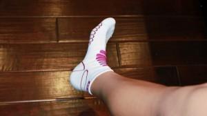 running socks on feet
