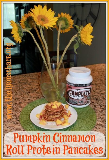pumpkin cinnamon roll protein pancakes The Lyons Share 2