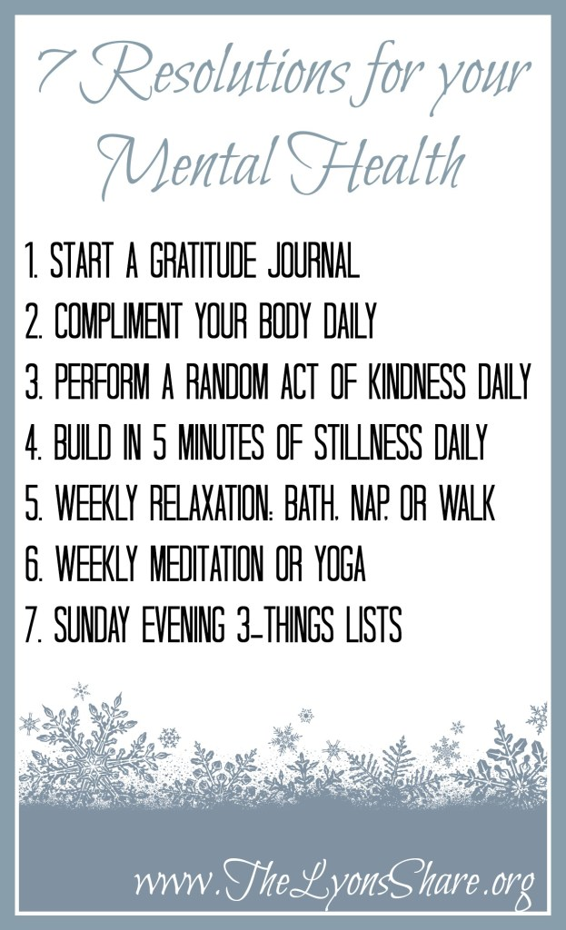 7 resolutions for your mental health