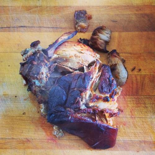 Slow cooked pulled pork face