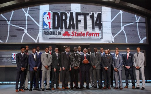 Jun 26, 2014; Brooklyn, NY, USA; NBA commissioner Adam Silver poses for a photo with draft prospects in attendance before the 2014 NBA Draft at the Barclays Center. Mandatory Credit: Brad Penner-USA TODAY Sports