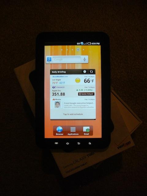 Samsung Galaxy Tab Daily Briefing Screen