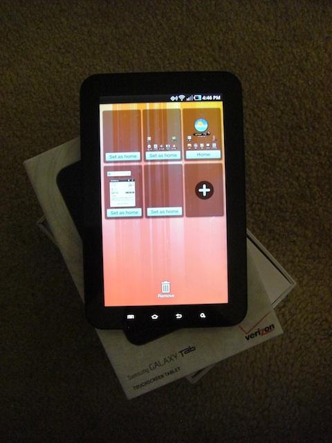 Samsung Galaxy Tab Home Screens