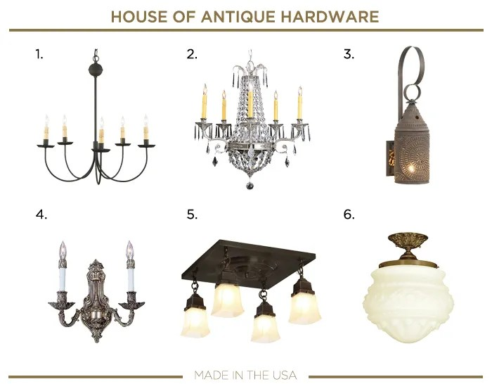 Made in the USA LIGHTING fixtures_HOUSE OF ANTIQUE HARDWARE