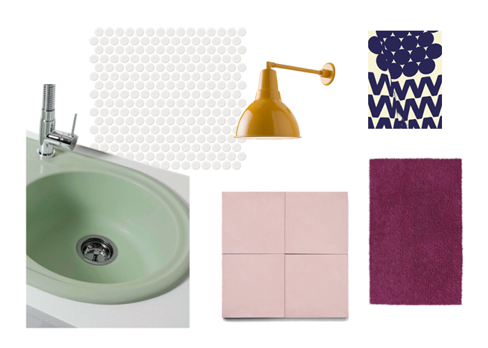 Fun retro bathroom concept idea using mint, yellow, plum colors and penny tile and mint green bathroom sink