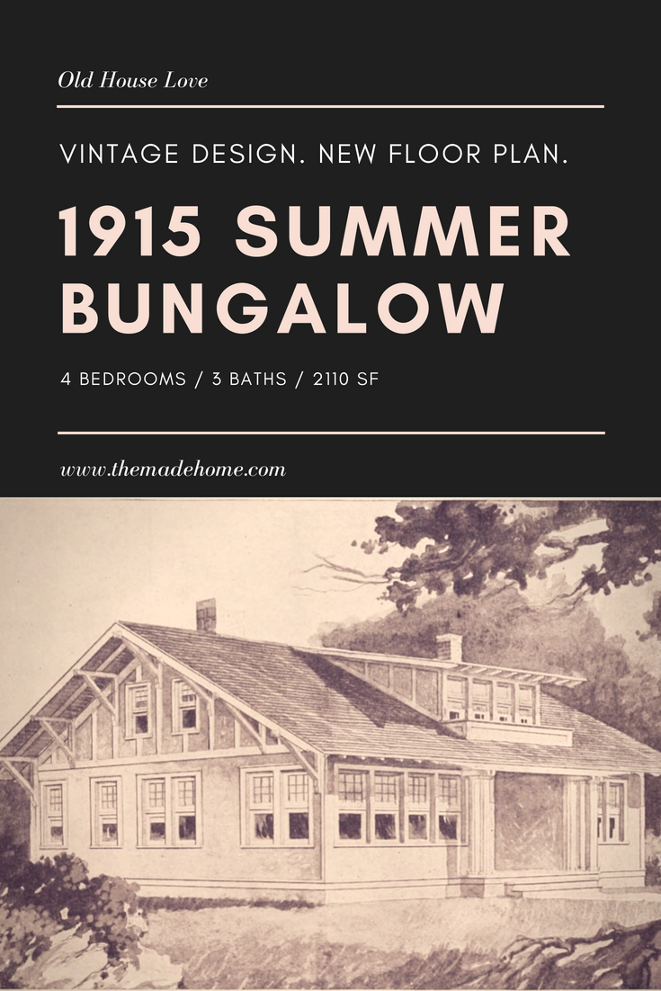 1915 Radford summer bungalow vintage floor plan with updated layout