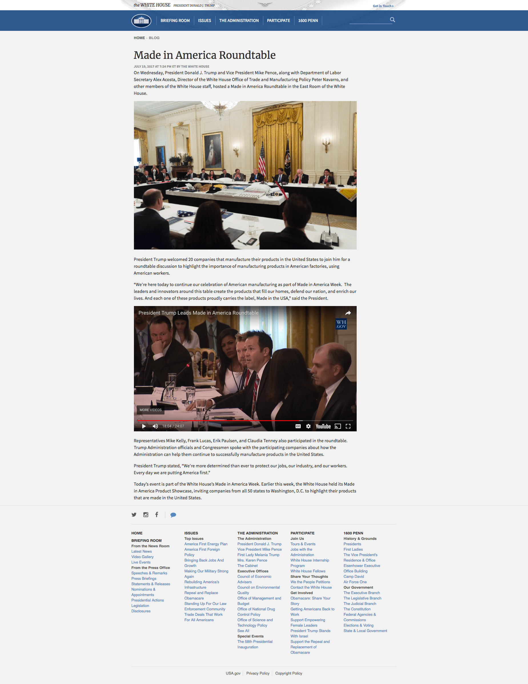 White House Article on Made in America Roundtable with Margarita Mendoza and Kurt Uhlir v2